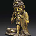A gilt-<b>bronze</b> seated figure of the ascetic Shakyamuni, Late Ming dynasty, 16th-17th century