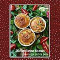 Muffins farine de maîs, petits pois & pancetta