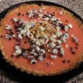 Tarte au citron et au pamplemousse, pépites de cranberries au chocolat blanc