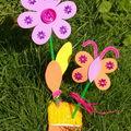 fleur et papillon en mousse caoutchouc ...