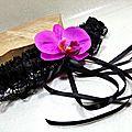 Jarretière de mariée orchidée noir fuchsia
