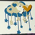 carte de naissance unisexe avec nuages