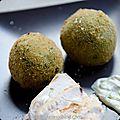 Arancini aux asperges vertes, fèves et ail des ours
