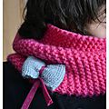 Snood rose point mousse et noeud gris biais FDS