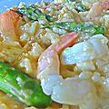 Risotto aux crevettes et asperges vertes