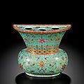 A famille-rose <b>turquoise</b>-ground wall vase, Qing dynasty, Qianlong period (1736-1795)