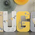 Lettres prénom décorées thème <b>oiseau</b> et plume