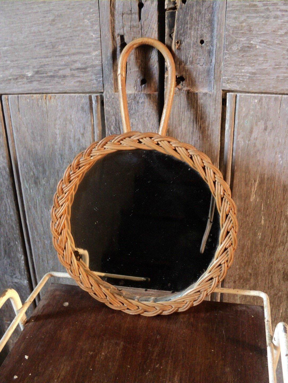 Ancien Petit Miroir en osier Vintage