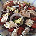 Salade thon-haricots rouges-tomates cerises-avocat