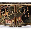 A highly important pair of George III gilt-metal-mounted Coromandel lacquer veneered and japanned commodes.