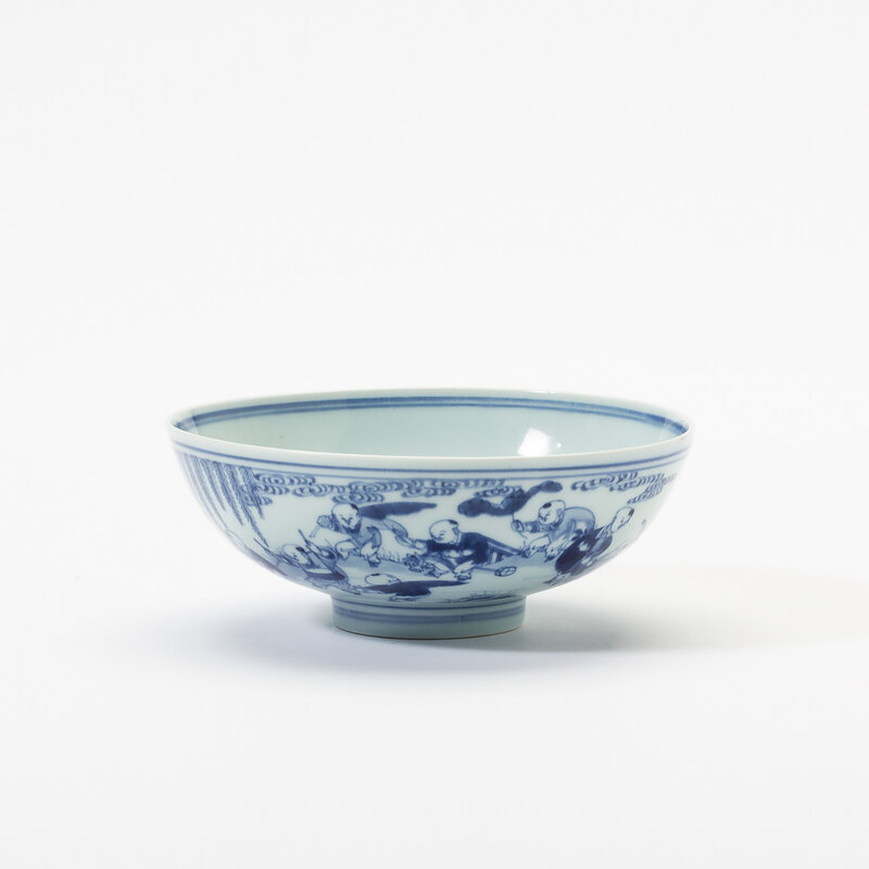 A Chinese blue and white 'hundred boys' bowl, Yongzheng underglaze blue six-character mark in double circle and of the period (1723-1735)