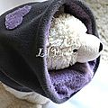 Snood enfant réversible mauve-anthracite