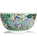 A large famille verte '<b>Ruse</b> of the Empty Fort' bowl, Kangxi period (1662-1722)