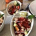 Salade de fraises aux avocats et au <b>crabe</b>