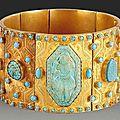 Bracelet qâjâr en or aux firouzeh, iran, xixe siècle