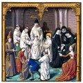 Miniature de manuscrit : prise d'habit de Bernard de Fontaines et d'une moniale - extrait de