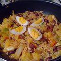 Wok de riz ( où comment utiliser un reste de riz et de poulet)