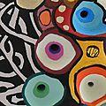 Hervé THAREL - SCHMIMBLOCK'S sphère 2013 - gouache T7 sur argile - diam