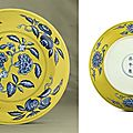 A fine <b>and</b> rare yellow-ground blue <b>and</b> white decorated dish, <b>Zhengde</b> six-character <b>mark</b> within double circles <b>and</b> of the <b>period</b>
