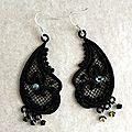 bijoux de dentelle pendant noir par amd a coudre