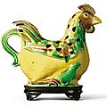 A 'famille-verte' biscuit 'cockerel' winepot. qing dynasty, kangxi period
