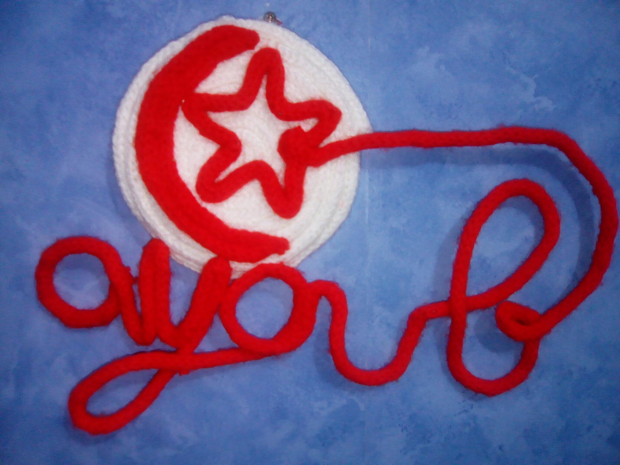 Prénom au tricotin version drapeau tunisien