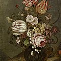 <b>Ambrosius</b> <b>Bosschaert</b> <b>the</b> <b>Younger</b>, A rose, tulips, carnations and other flowers in a glass vase on a table-top with whitecurrants
