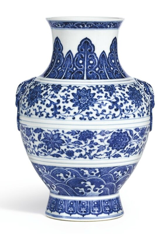 A Blue And White Vase Zun Seal Mark And Period Of Qianlong Alain R Truong