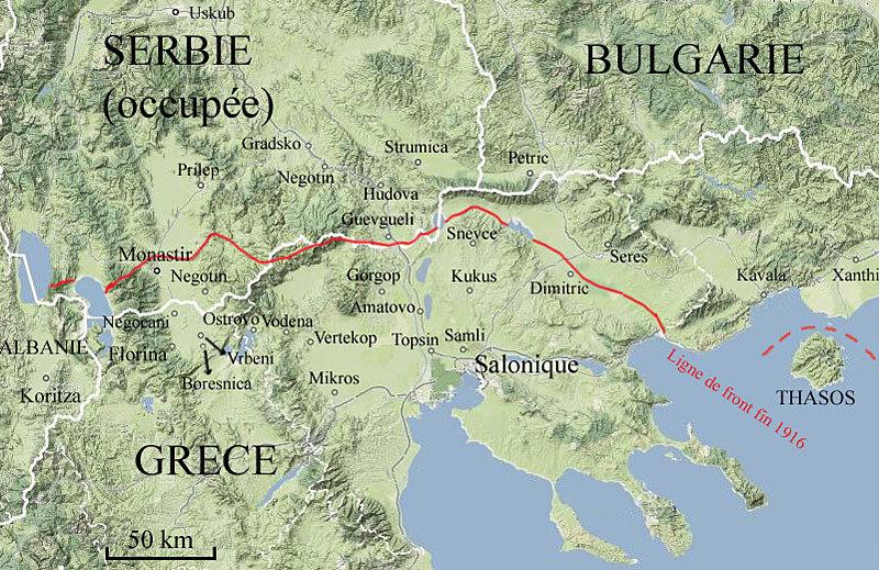 carte Grèce, Serbie, Bulgarie, 1916