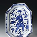 <b>Octagonal</b> <b>dish</b> of glazed earthenware decorated with figure of a man, Persia, 17th century