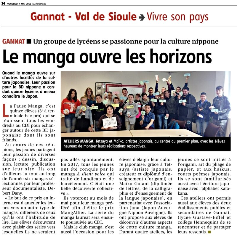 article journal La Montagne -04052018-Gannat Lycee GE