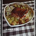 Rôti de porc farci à la fourme d'ambert et pommes de terre confites
