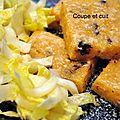 Carrés de polenta aux morilles et à l'huile de truffe