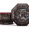 A <b>mother</b>-<b>of</b>-<b>pearl</b> inlaid lacquer 'figure' octagonal box and cover, Yuan-Ming Dynasty (1279-1644)