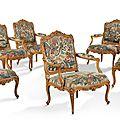 Exceptionnelle suite de six fauteuils à châssis, epoque louis xv vers 1750