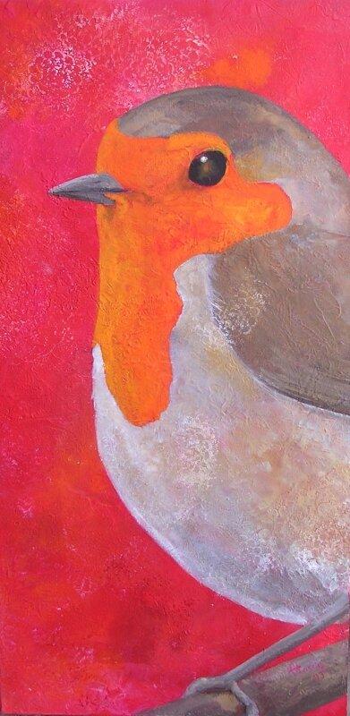 Rouge-gorge - acrylique sur bois - 30x60cm -2009