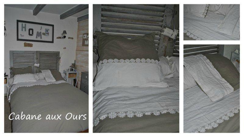 housse de couette avec linge ancien la cabane aux ours. Black Bedroom Furniture Sets. Home Design Ideas