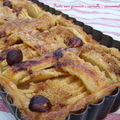 Tarte aux pommes , cannelle , cassonade et noisettes