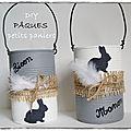 White & Pâques : paniers avec des boîtes de conserve
