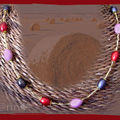 Collier perles miracle ovale rose/rouge/noire (N)