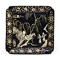 A mother-of-pearl-inlaid black lacquer <b>square</b> <b>dish</b>, Late Yuan-Early Ming dynasty, 14th-15th century