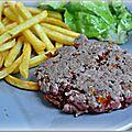Steak aller/retour aux tomates séchées et oignons frits