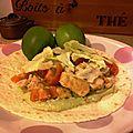 Tacos de poulet, sauce avocat