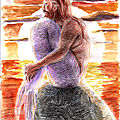 #Mermay 2020 jour 3: triton devant le soleil couchant - sunset merman