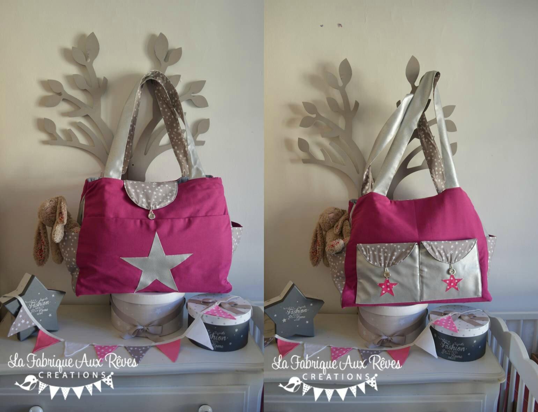 DISPO - grand sac à langer bébé fashion moderne nombreux rangements poches thème étoiles rose fuchsia argenté gris 3