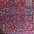 229 coupon tissu fleuri tons de rouge patchwork collection scheurer