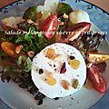 Salade mélangée au chèvre et fruits secs