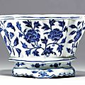 A rare blue and white lobed jardinière, ming dynasty, early 15th century