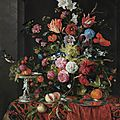 <b>Jan</b> <b>Davidsz</b>. de <b>Heem</b>, Flowers in a glass vase on a draped table, with a silver tazza, fruit, insects and birds