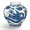 A magnificent very rare large blue and white 'dragon' jar, guan, <b>Xuande</b> four-character mark in underglaze blue and of the period